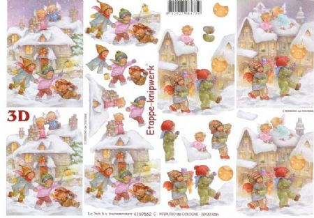 Children In The Snow Designs 3d Decoupage Sheet
